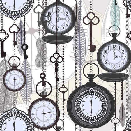 oude sleutel: Vintage naadloze patroon met horloges, veren en sleutels
