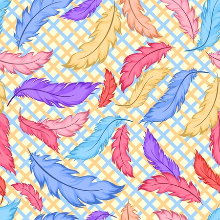 Seamless pattern with colorful feathers on plaid Stock Vector - 11660539