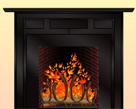 Geïsoleerde open haard met brandend vuur