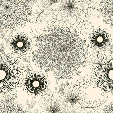 달리아: 정원 꽃과 원활한 배경