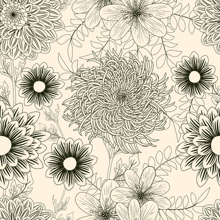 dahlia flower: Seamless background with garden flowers Illustration