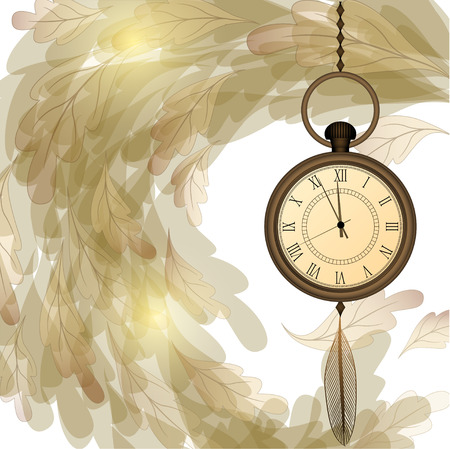 Vintage background with pocket watches on chain and wave of foliage