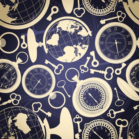cover background time: Seamless retro background with globes, keys and watches Illustration