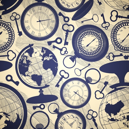 pocket watch: Seamless retro background with globes, keys and watches Illustration