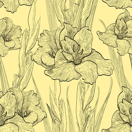 Hand-written seamless pattern with gladiolus flowers