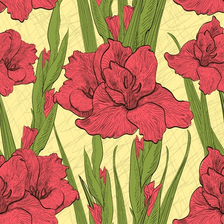 Seamless retro pattern with hand-written flowers Vector