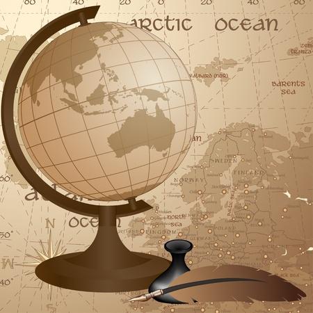 zeměpisný: Geographic vintage pozadí s zeměkoule, peří a podrobná mapa Evropy