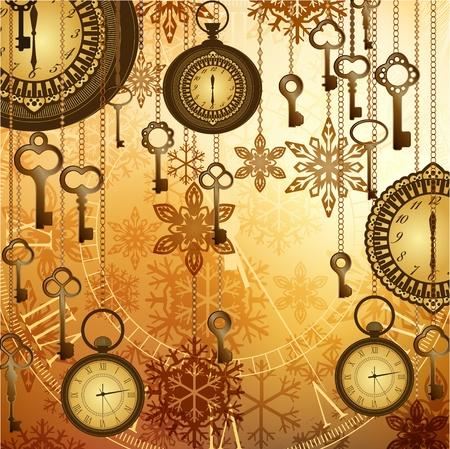 Vintage gouden horloges, sleutels en sneeuwvlokken op glanzende achtergrond