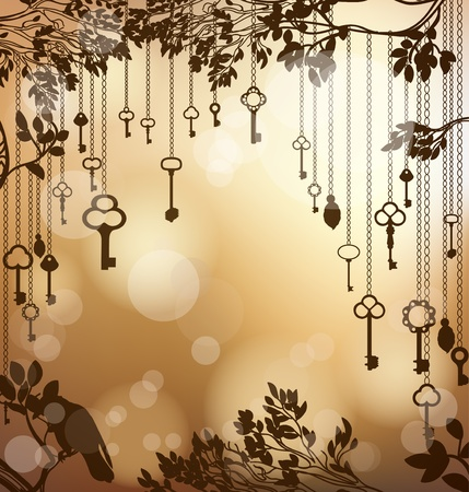 light chains: Golden glittering background with antique keys Illustration