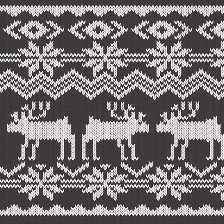 embroidery designs: Knitted swatch with deers and snowflakes pattern