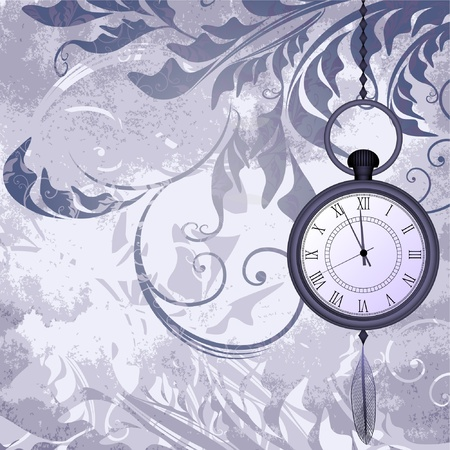 midnight time: Vintage grungy background with pocket watches on chain