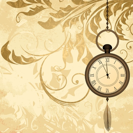 Vintage grungy background with pocket watches on chain Vector