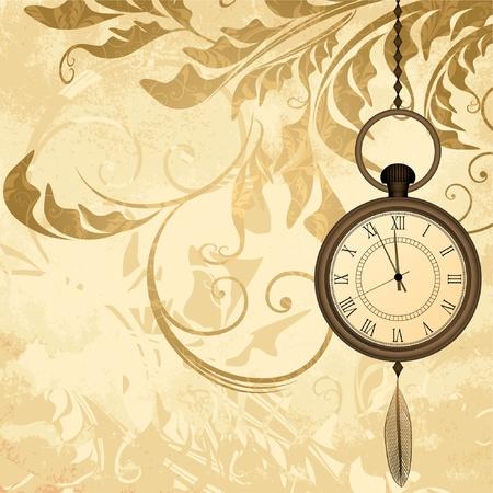 orologi antichi: Vintage sfondo grungy con orologi da tasca su catene Vettoriali