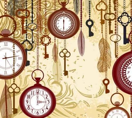 pocket watch: Vintage grungy background with keys and watches Illustration
