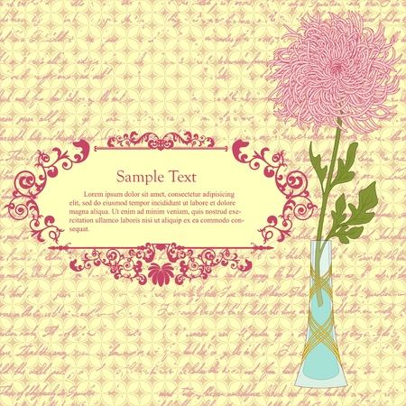 Background with chrysanthemum in vase and vintage frame Stock Vector - 11881729