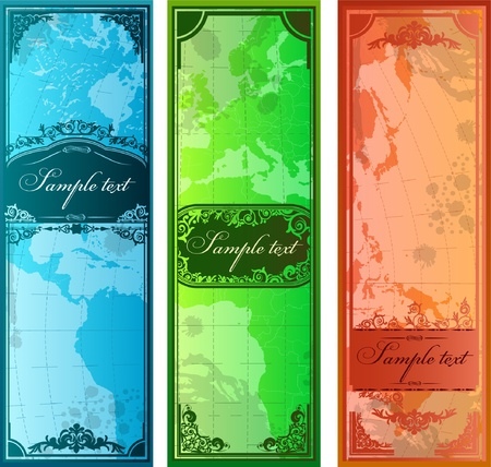 bookmarks: Set of three colorful bookmarks with map silhouettes