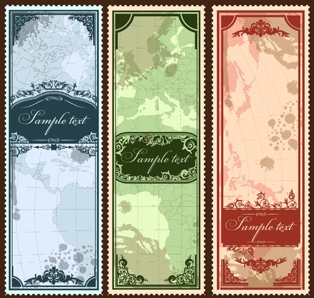longitude: Set of three vintage bookmarks with map parts