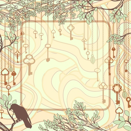 Vintage background with tree branches and antique keys Vector