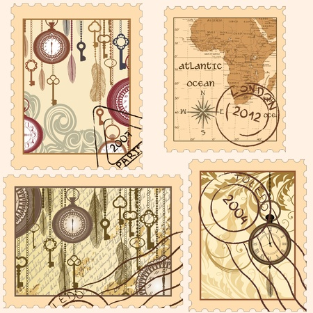 post scripts: Set of vintage stamps