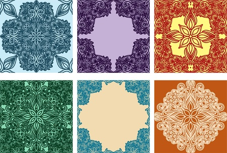 Set of colorful seamless ornaments and frames Stock Vector - 11881734