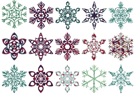 xmas decoration: Collection of patch snowflakes. Easy to change colors. All patterns are included.