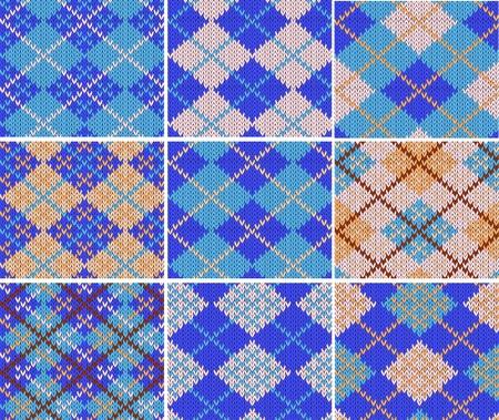 textura lana: Conjunto de nueve muestras de punto con patr�n de rombos azules