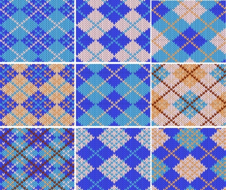 Set of nine knitted swatches with blue argyle pattern Vector