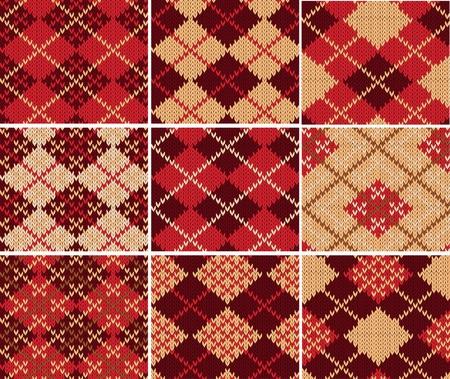 textura lana: Conjunto de muestras sin costura de punto Vectores