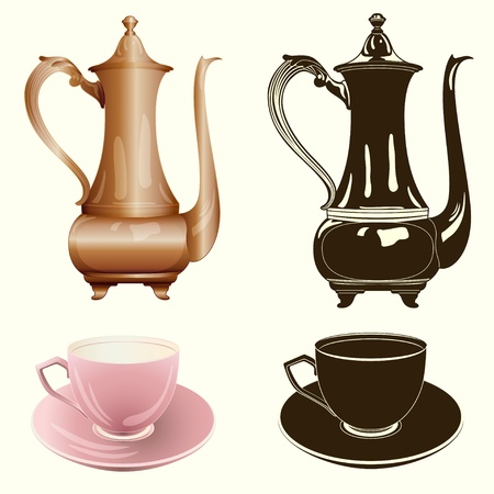 pot: tea set: antique tea pot and cup in color and monochrome