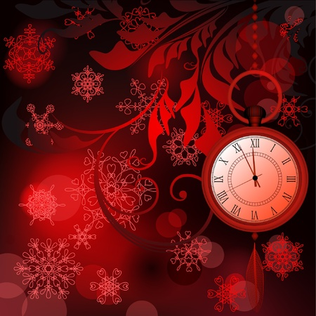 Red New Year background with watches and snowflakes Stock Vector - 11881485