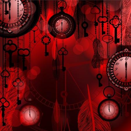 Antieke diep rode achtergrond met zakhorloges en veren