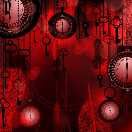 Antique deep red background with pocket watches and feathers