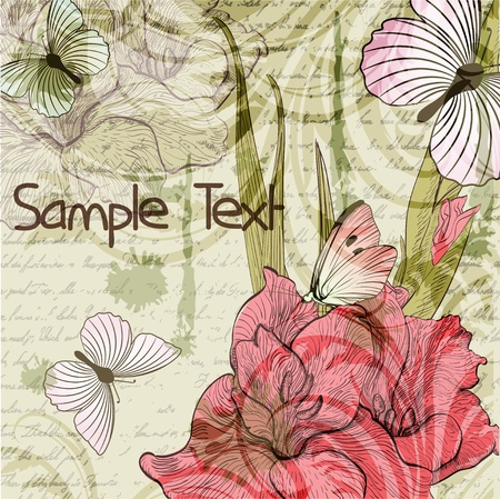 gladiolus: Grungy retro background with gladiolus flowers and butterflies Illustration