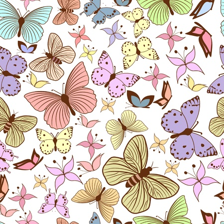 romantic picture: Seamless pattern with stylized butterflies