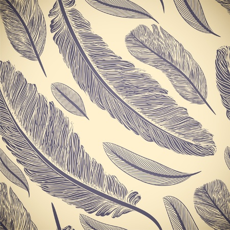 Vintage seamless pattern with hand-drawn feathers Vector