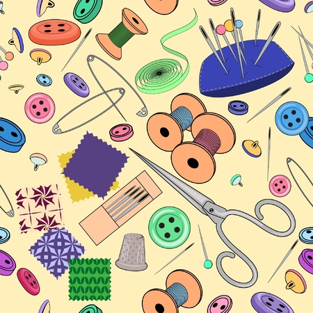 재료: 물건 바느질과 원활한 패턴 일러스트