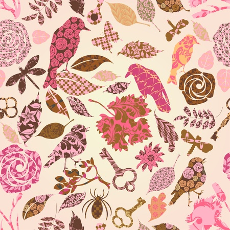 Seamless pattern with patch silhouettes Vector