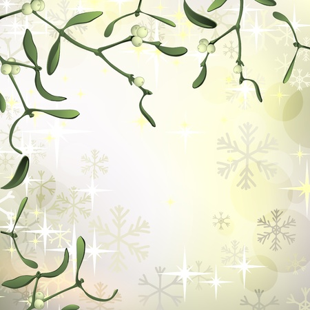 Luxury Christmas background with mistletoe and snowflakes