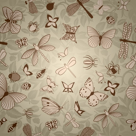 Seamless pattern with stylized insects Vector