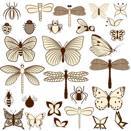 Set von stilisierten Insekten für die Dekoration Ihrer Arbeit. Leicht zu bearbeiten und zu ändern Farben.