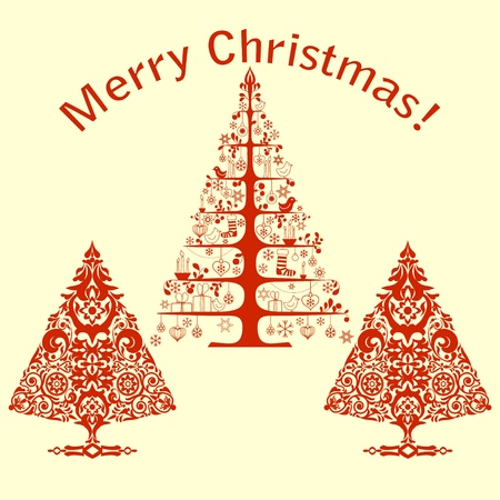 Christmas card with stylized trees Vector