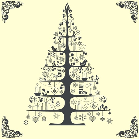 Stylized vector Christmas tree Stock Vector - 11880265