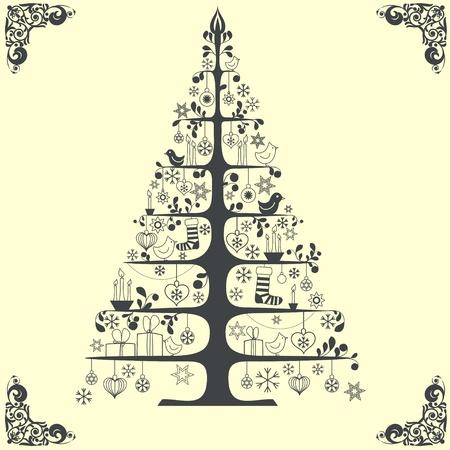 fur tree: Vector stilizzato albero di Natale