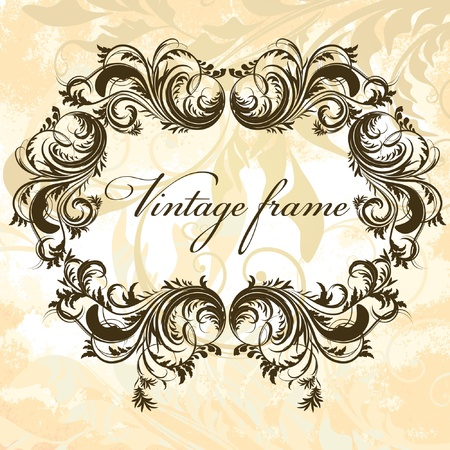 Antique floral frame on grungy background Vector