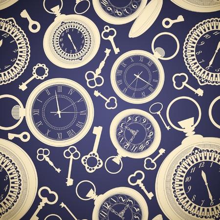 Patrón de la vendimia sin problemas con los relojes y las llaves Ilustración de vector