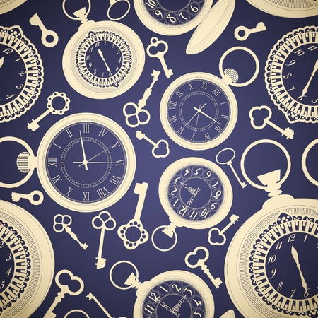 Vintage seamless con gli orologi e le chiavi Vettoriali