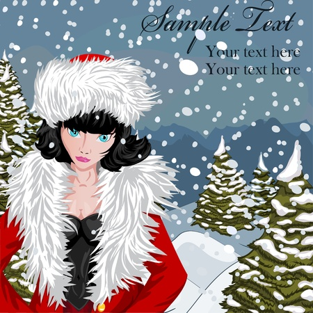 Winter background with girl in Santa Vector