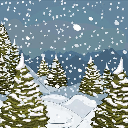 snow forest: Winter landscape with snow and fir-trees