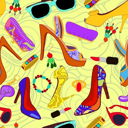 hairpin: Womans accessory seamless pattern Illustration