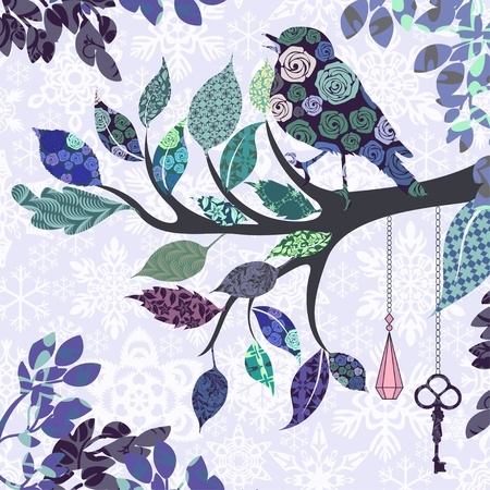 color swatch: Retro background of tree branch with leaves and bird of patches